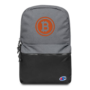 Bitcoin Logo Embroidered Champion Backpack