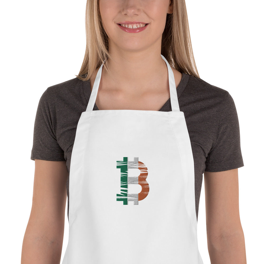 Bitcoin Irish Flag Embroidered Apron