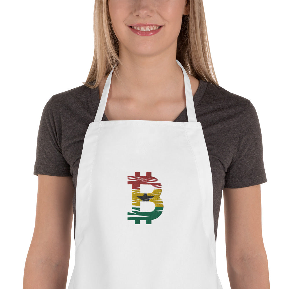 Bitcoin Ghanaian Flag Embroidered Apron