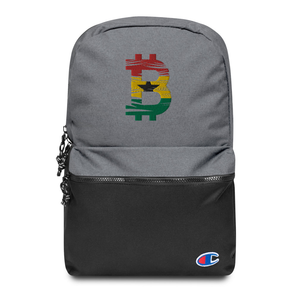 Bitcoin Ethopian Flag Embroidered Champion Backpack