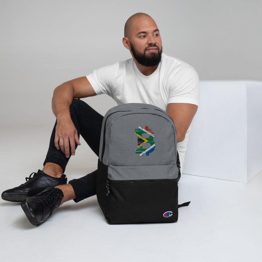 Bitcoin South African Flag Embroidered Champion Backpack