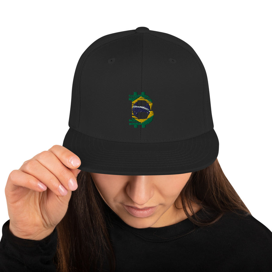 Bitcoin Brazilian flag Snapback hat
