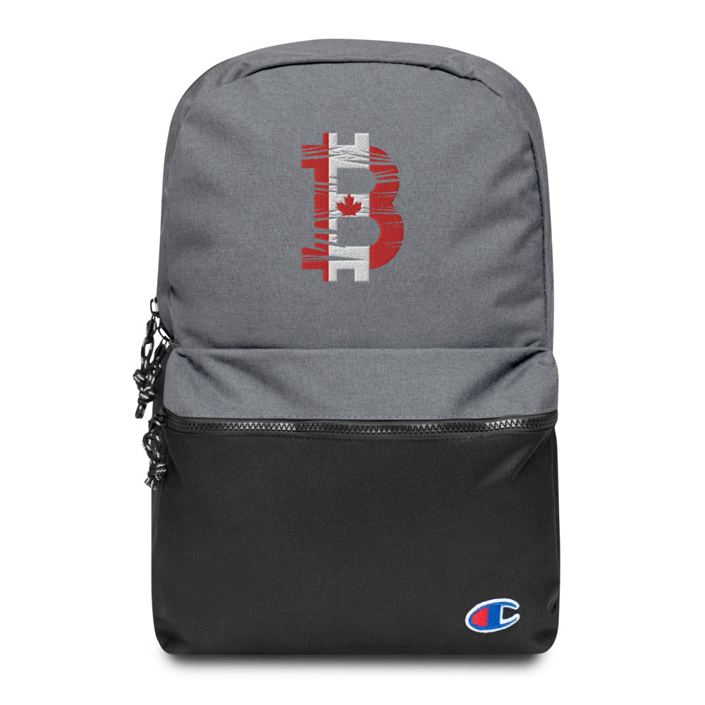 Bitcoin Canadian Flag Embroidered Champion Backpack