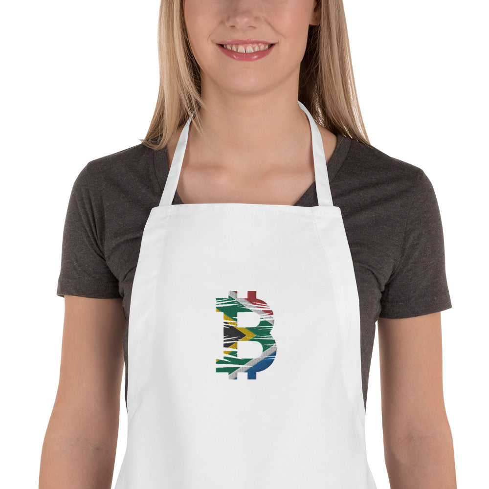 Bitcoin South African Flag Embroidered Apron