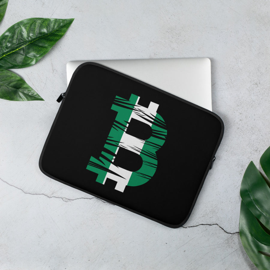 Bitcoin Nigerian Flag Laptop Sleeve