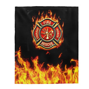 FIRE FIGHTER Velveteen Plush Blanket