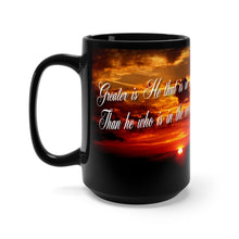 Load image into Gallery viewer, GREAT IS HE Black Mug 15oz
