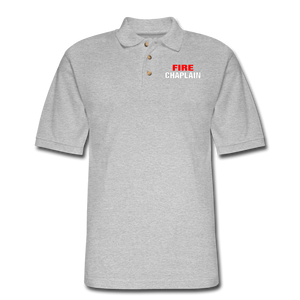 FIRE CHAPLAIN Pique Polo Shirt - heather gray
