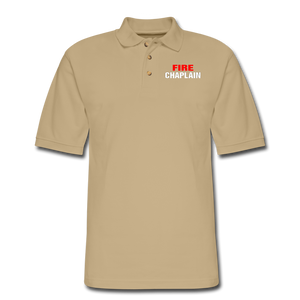FIRE CHAPLAIN Pique Polo Shirt - beige