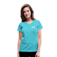 Load image into Gallery viewer, Women's V-Neck T-Shirt - aqua