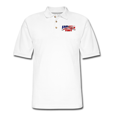 AMERICA FIRST Men's Pique Polo Shirt - white