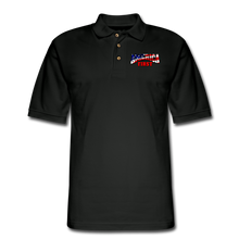 Load image into Gallery viewer, AMERICA FIRST Men's Pique Polo Shirt - black