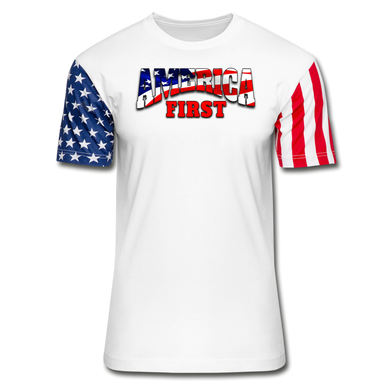 AMERICA FIRST Stars & Stripes T-Shirt - white