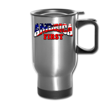 Load image into Gallery viewer, AMERICA FIRST Travel Mug - silver