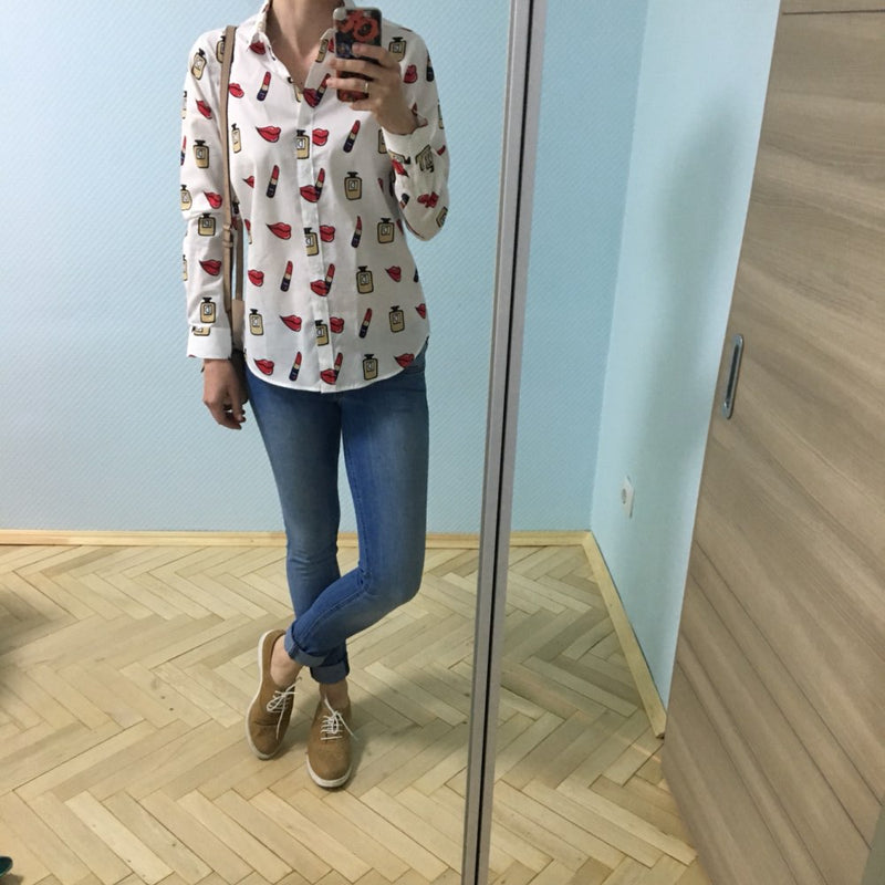 Fashion Print Plus Size Cotton Women Blouse