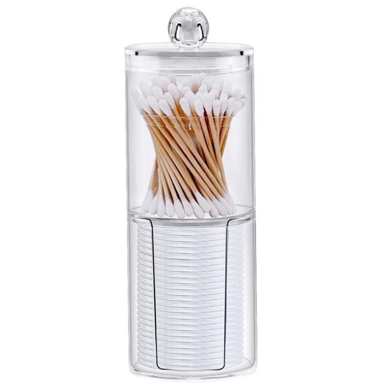 cosmetic make-up cotton swabs transparent container