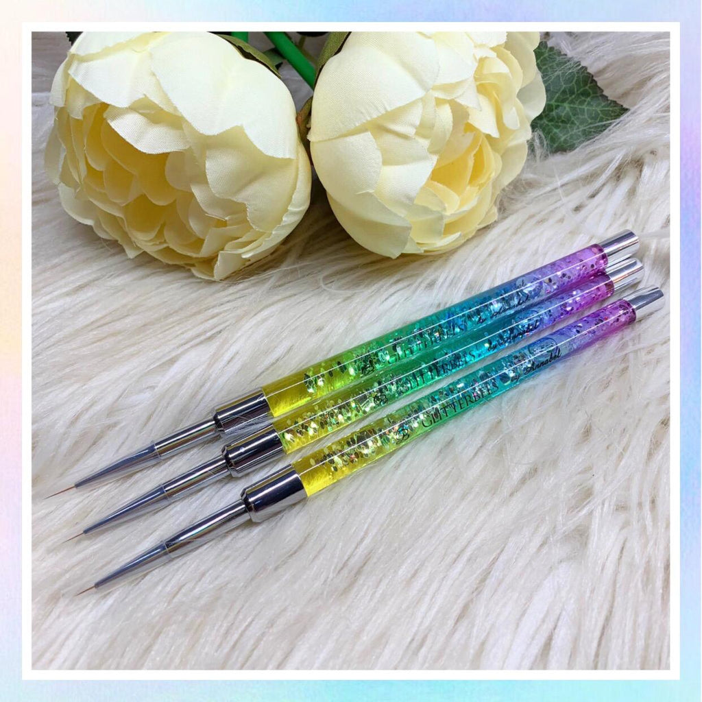 Rainbow Fine Detail Brush Set of 3 Glitterbels