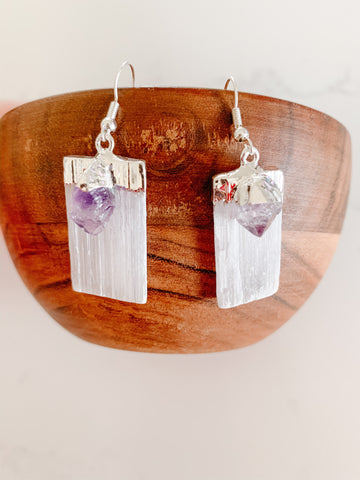 Amethyst & Selenite Earings