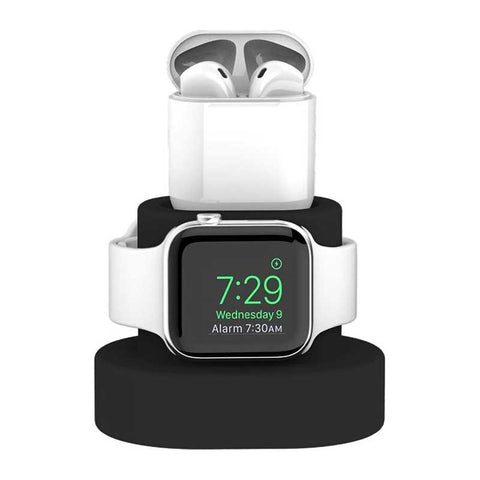 Support-pour-Apple-Watch-et-Airpod-Noir-Silicone-Face