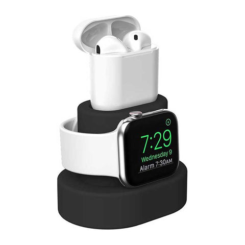 Support-pour-Apple-Watch-et-Airpod-Noir-Silicone-Lateral