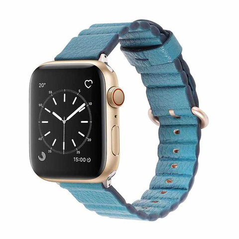 Bracelet Apple Watch <br /> Cuir Bleu Palma - Univers-Watch