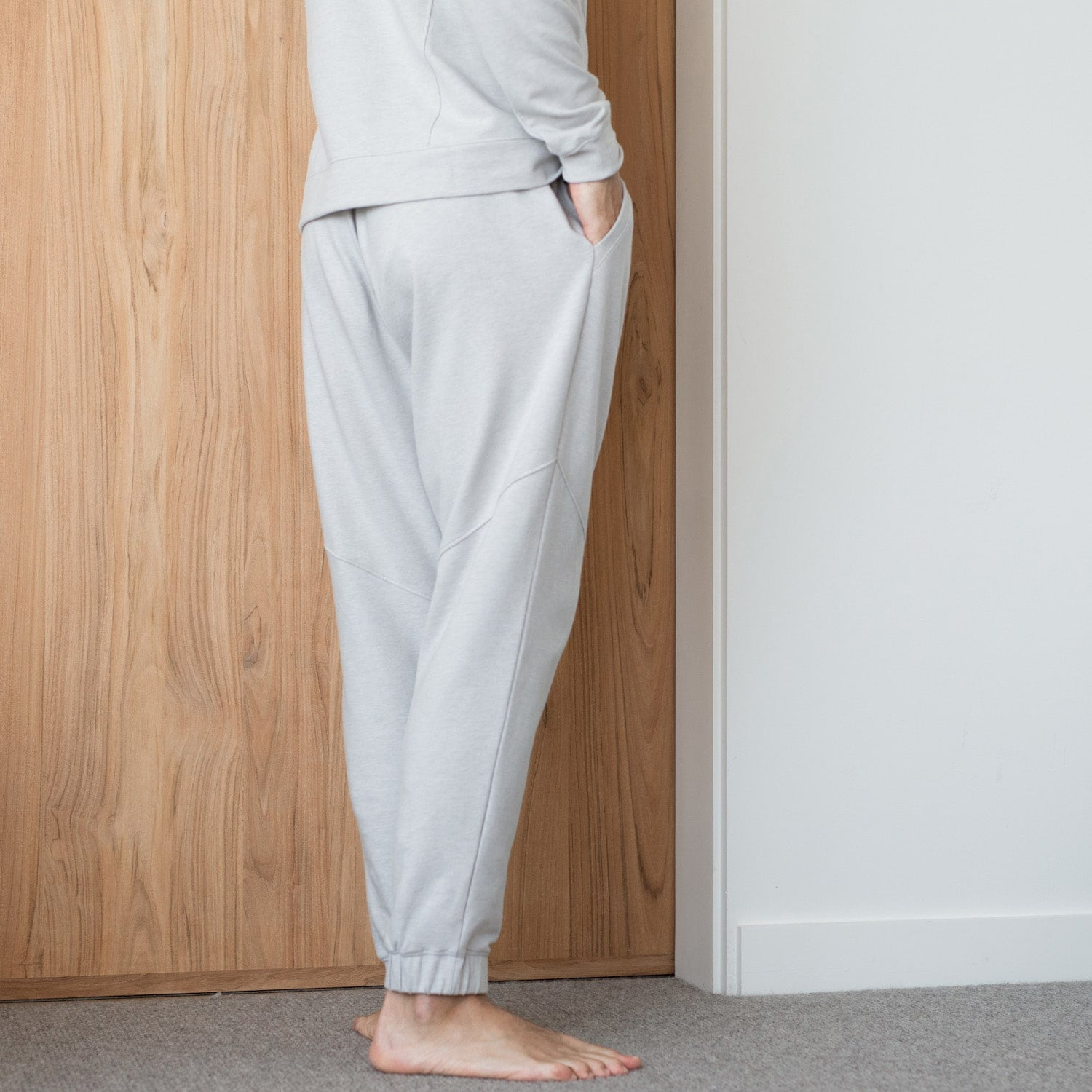 Lahgo Sleepwear Warm Pima Alpaca Fleece Pant - #Cloud/Eclipse