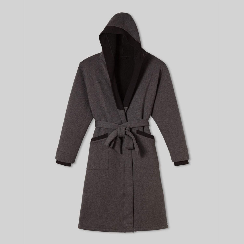 Second Image: Restore Double Faced Robe Lahgo Sleepwear Restore Double Faced Robe - #Charcoal/Black
