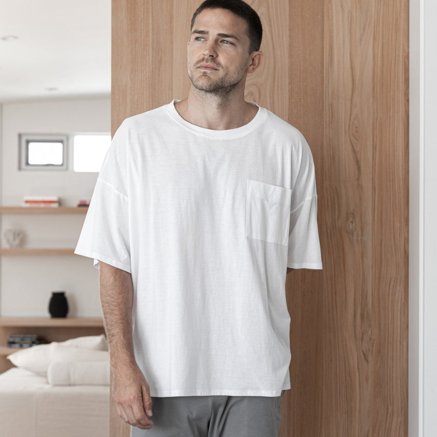 Second Image: Cool Short Sleeve Tee Lahgo Sleepwear Cool Short Sleeve Tee - #White