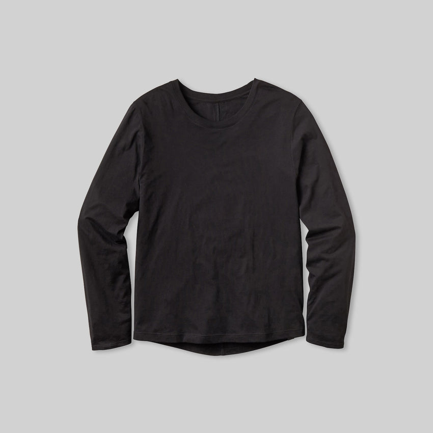 Second Image: Organic Pima Long Sleeve Tee Lahgo Sleepwear Organic Long Sleeve Tee - #Black