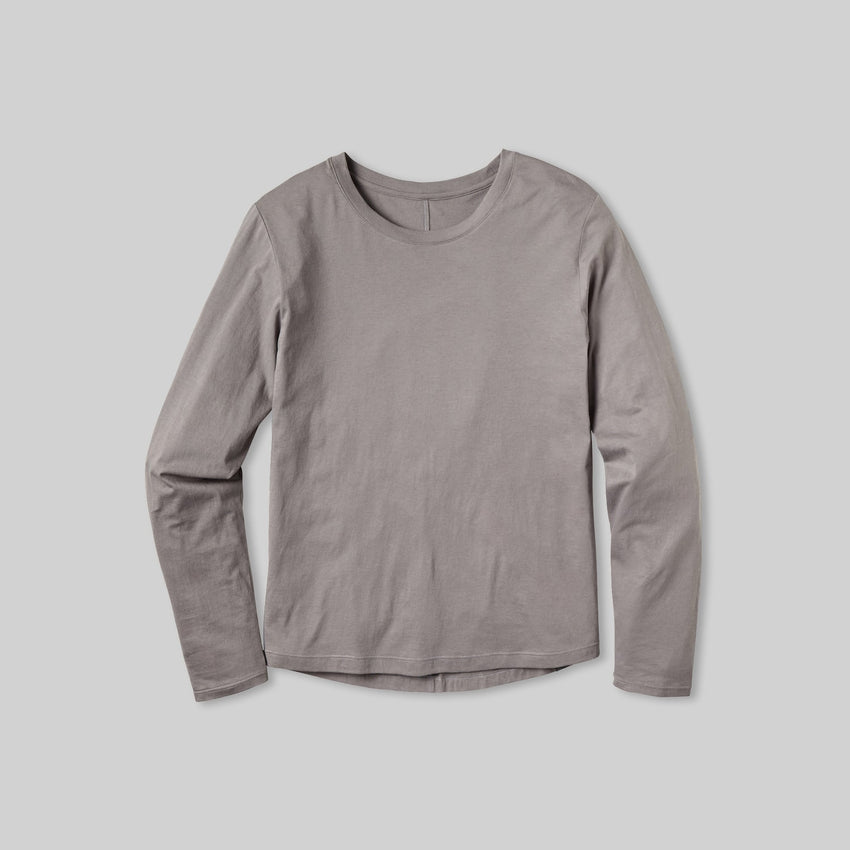 Second Image: Organic Pima Long Sleeve Tee Lahgo Sleepwear Organic Long Sleeve Tee - #Slate