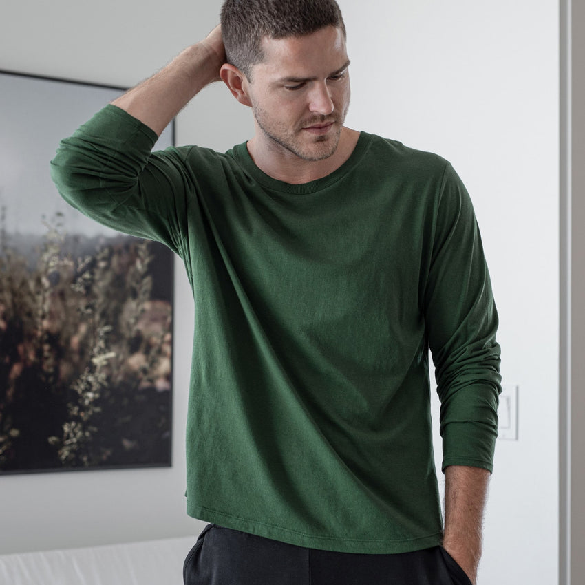 Main Image: Organic Pima Long Sleeve Tee Forest / S