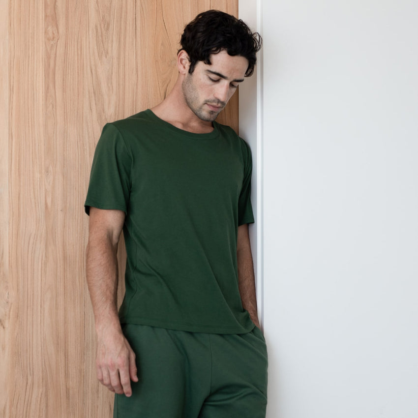 Second Image: Organic Pima Short Sleeve Tee Lahgo Sleepwear Organic Pima Short Sleeve Tee - #Forest