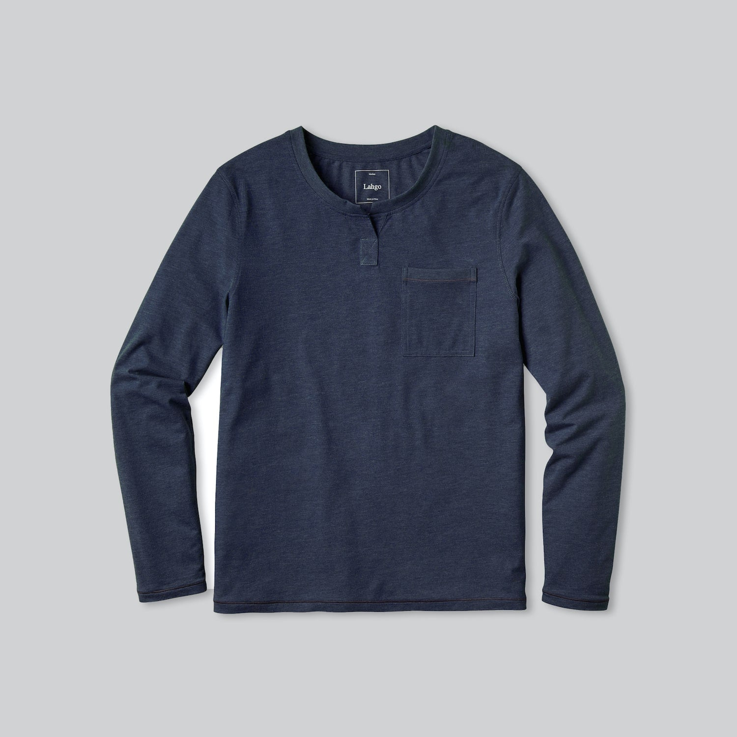 Lahgo Sleepwear Restore Long Sleeve Henley - #Deep Blue Heather