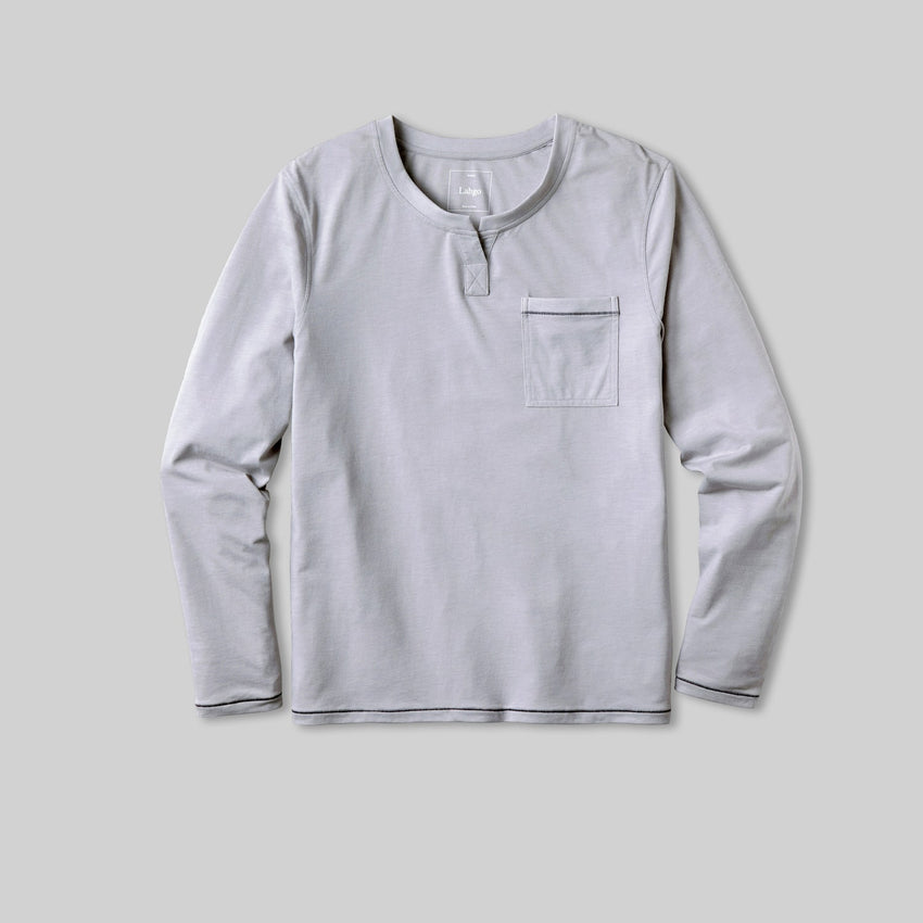 Second Image: Lahgo Sleepwear Restore Long Sleeve Henley - #Moonstone