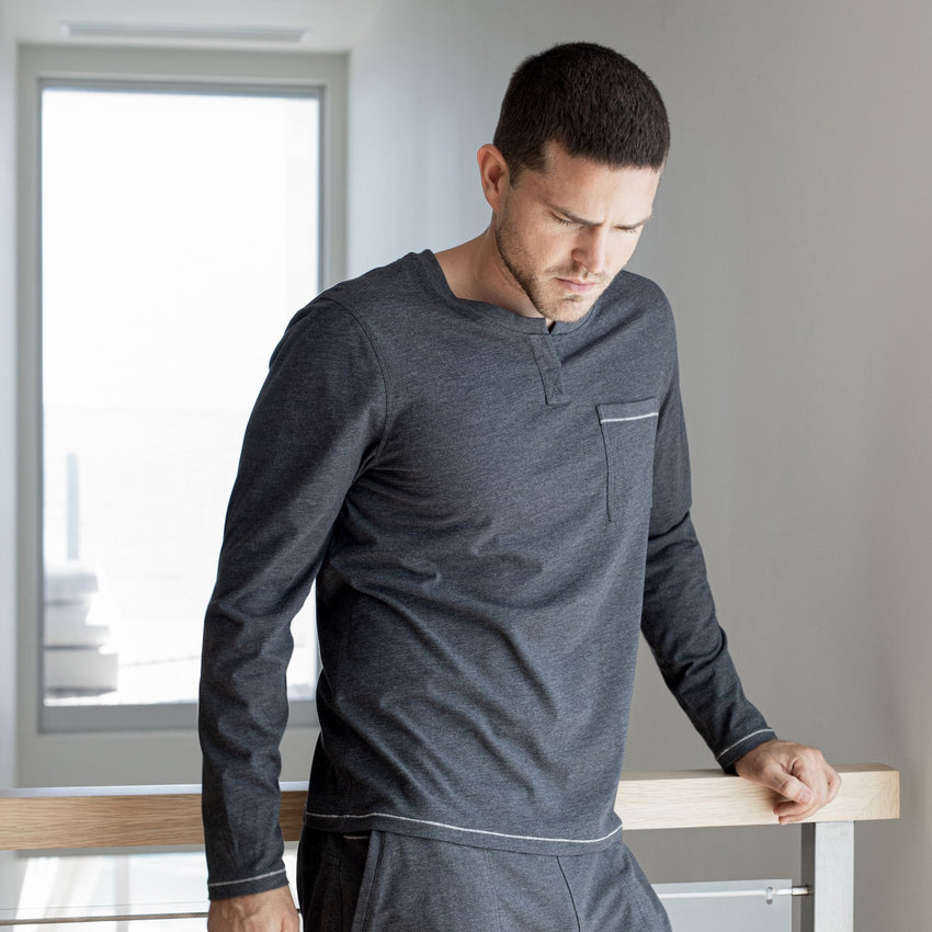 Second Image: Restore Long Sleeve Henley Lahgo Sleepwear Restore Long Sleeve Henley - #Charcoal