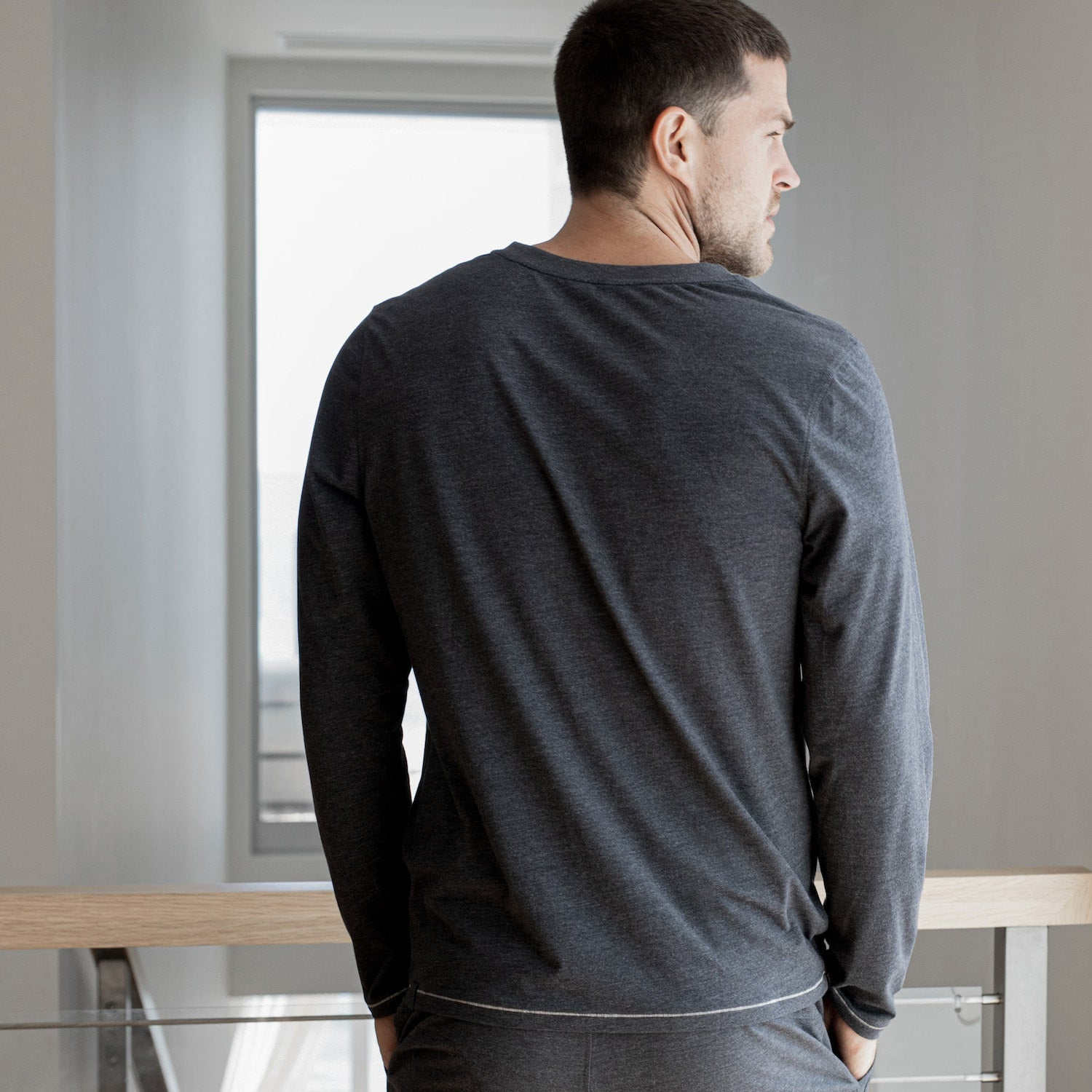 Lahgo Sleepwear Restore Long Sleeve Henley - #Charcoal