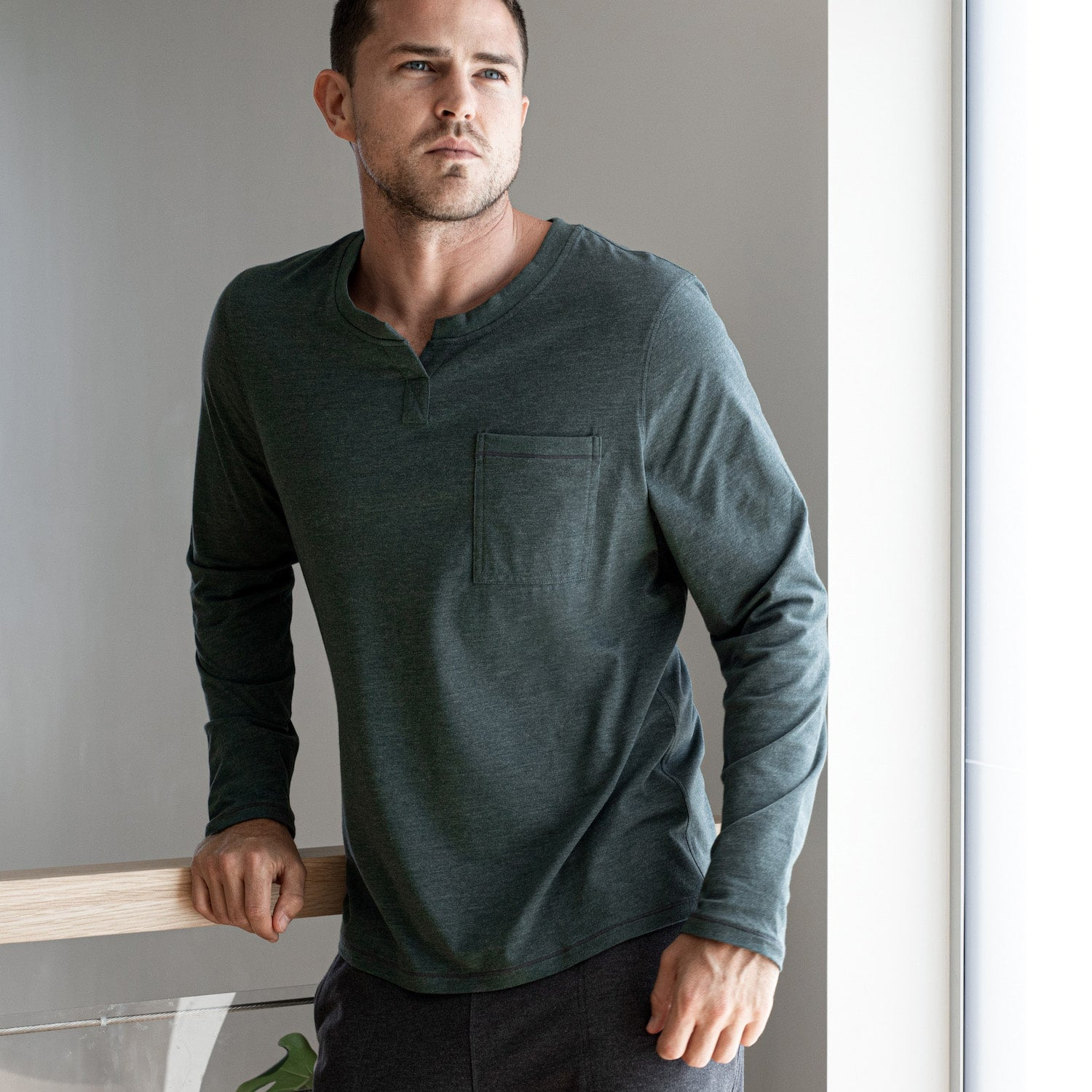 Lahgo Sleepwear Restore Long Sleeve Henley - #Forest