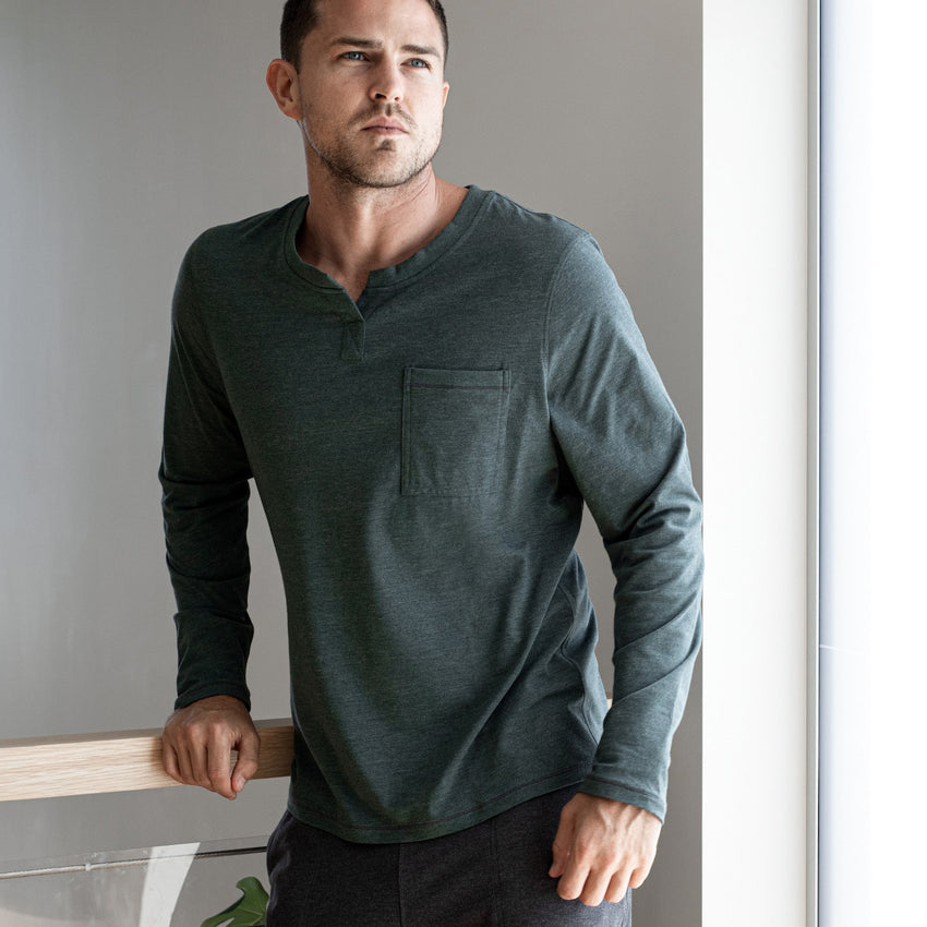 Second Image: Restore Long Sleeve Henley Lahgo Sleepwear Restore Long Sleeve Henley - #Forest