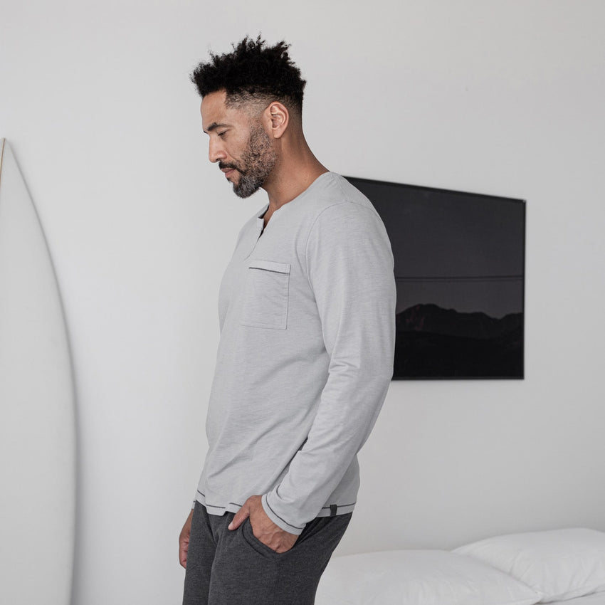 Second Image: Restore Long Sleeve Henley Lahgo Sleepwear Restore Long Sleeve Henley - #Moonstone