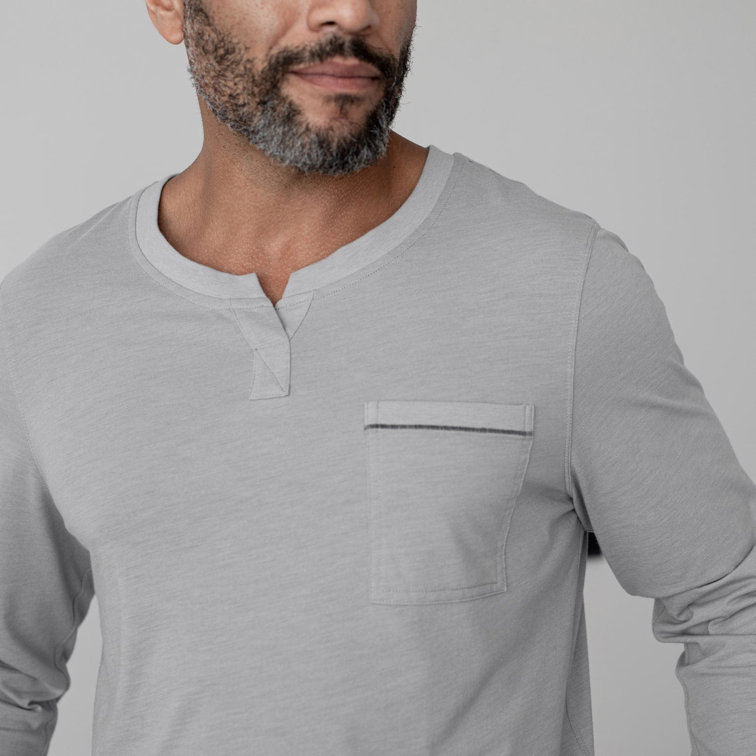 Lahgo Sleepwear Restore Long Sleeve Henley - #Moonstone