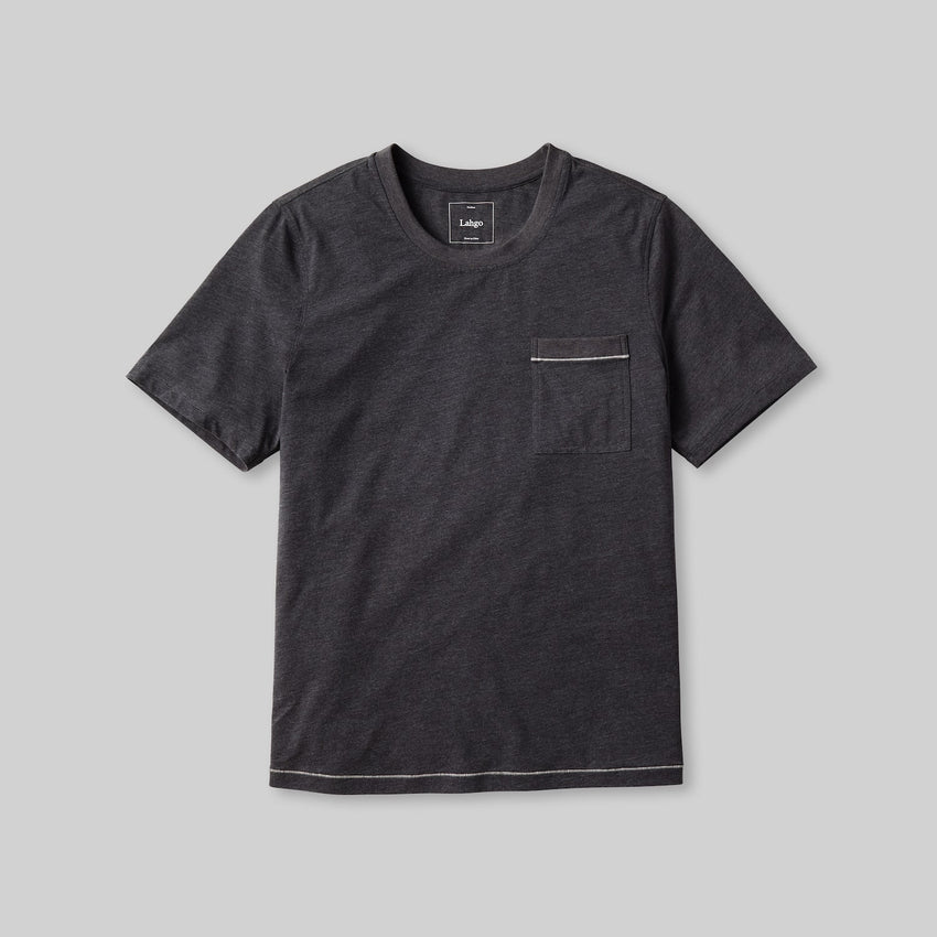 Second Image: Restore Short Sleeve Tee Lahgo Sleepwear Restore Short Sleeve Tee - #Charcoal