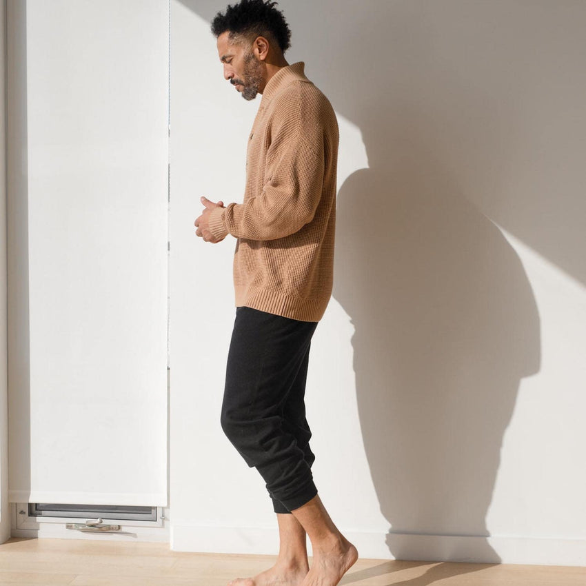 Second Image: Cotton Silk Jogger Lahgo Sleepwear Cotton Silk Jogger - #Black