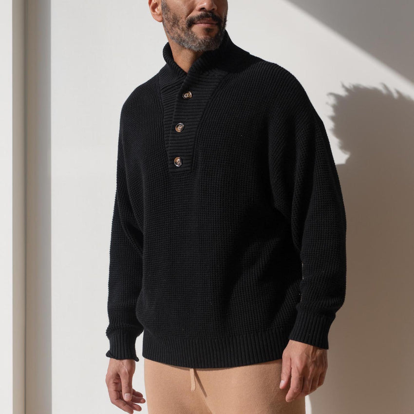 Second Image: Lahgo Sleepwear Cotton Silk Henley - #Black