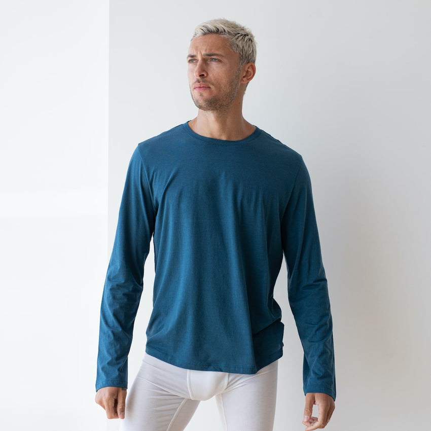 Second Image: Organic Pima Long Sleeve Tee Lahgo Sleepwear Organic Long Sleeve Tee - #Lake