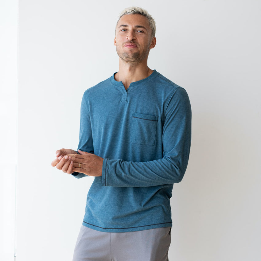 Second Image: Restore Long Sleeve Henley Lahgo Sleepwear Restore Long Sleeve Henley - #Lake