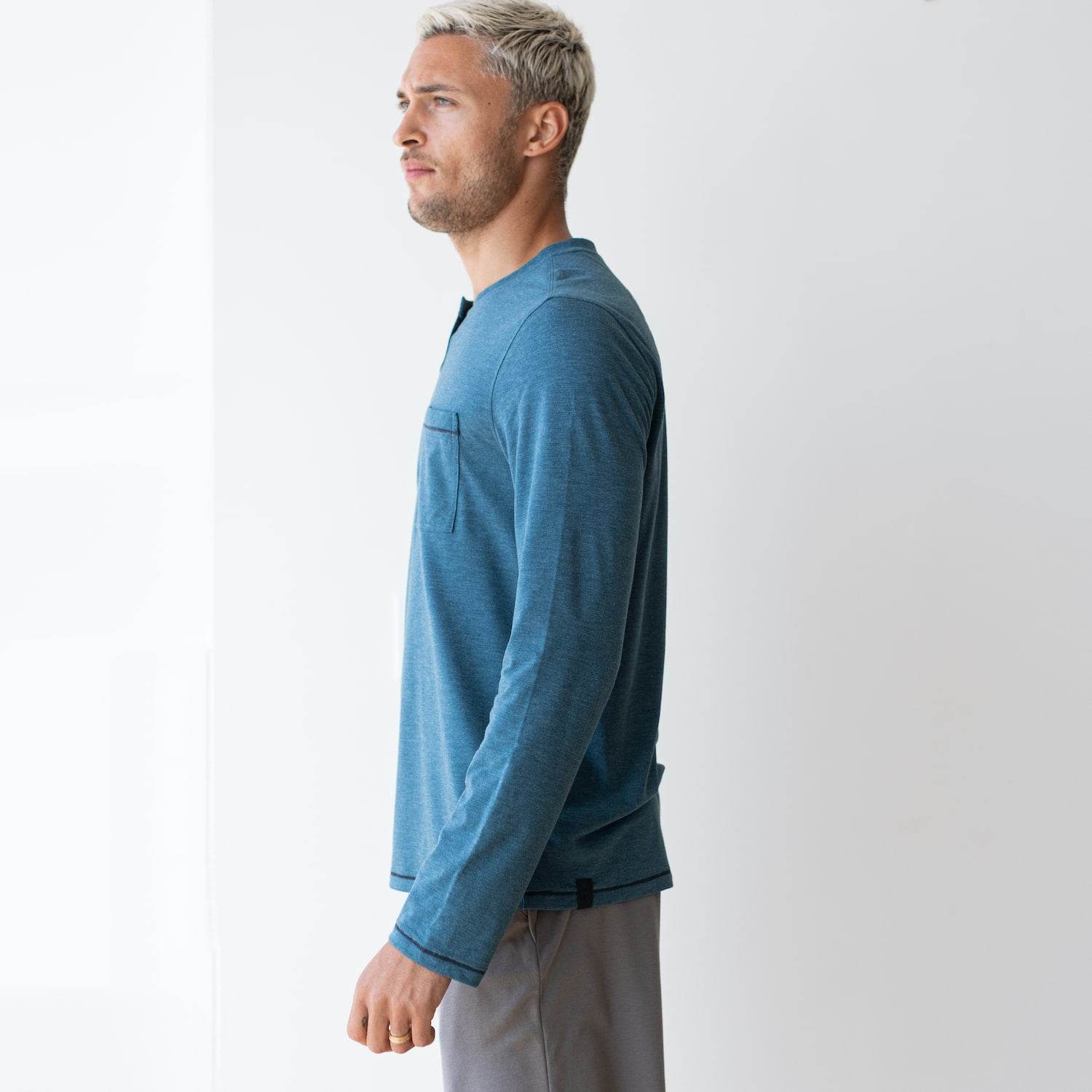 Lahgo Sleepwear Restore Long Sleeve Henley - #Lake