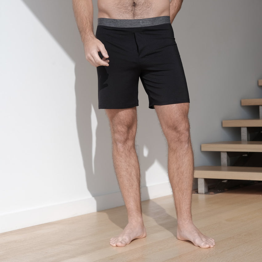Second Image: Supportive Modal Boxer Lahgo Sleepwear Supportive Modal Boxer - #Black