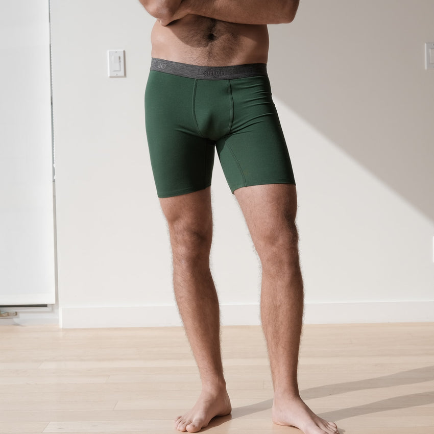 Second Image: Supportive Modal Boxer Brief Lahgo Sleepwear Supportive Modal Boxer Brief - #Forest