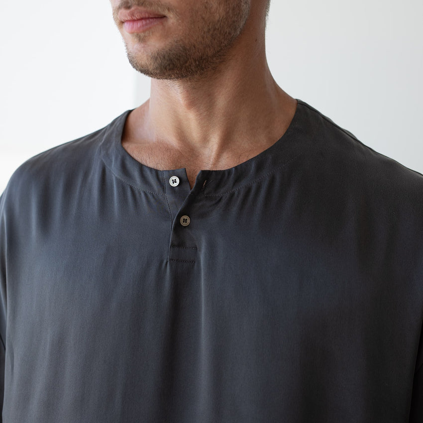 Second Image: Washable Silk Set Lahgo Sleepwear Cool Short Sleeve Tee - #Eclipse