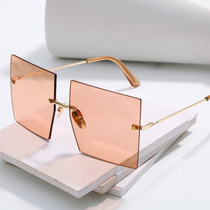 Ships From the US - Oversized Rimless Square Sunglasses